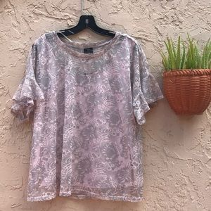 NWT Worthington Delicate Lacy Top in Plum & Silver